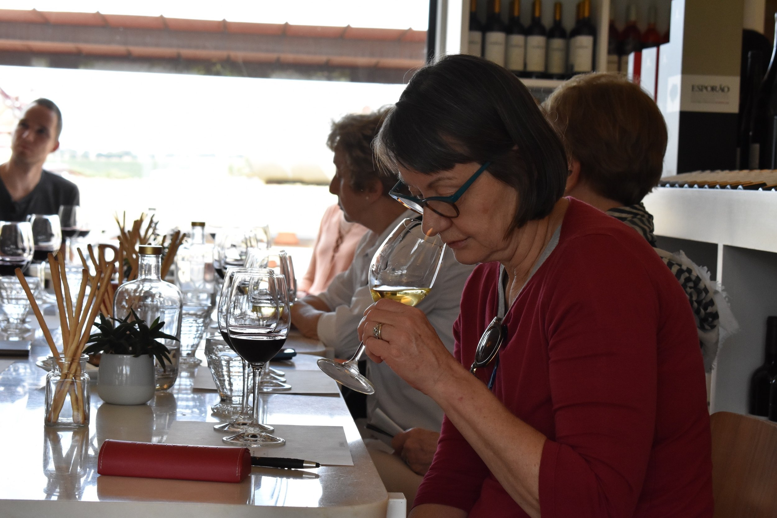 And naturally, time for the serious business of wine tasting