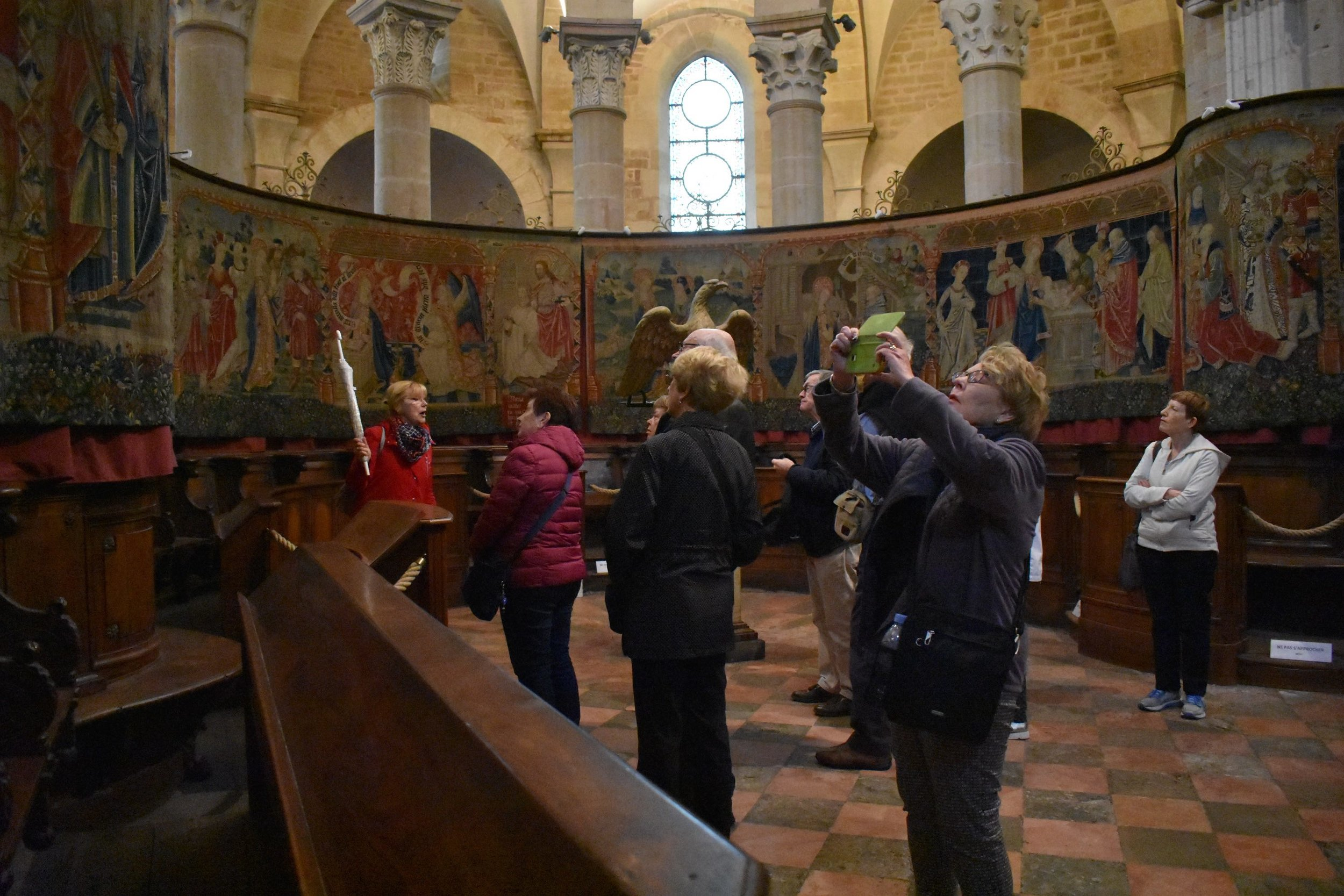 Admiring France's famous tapestries