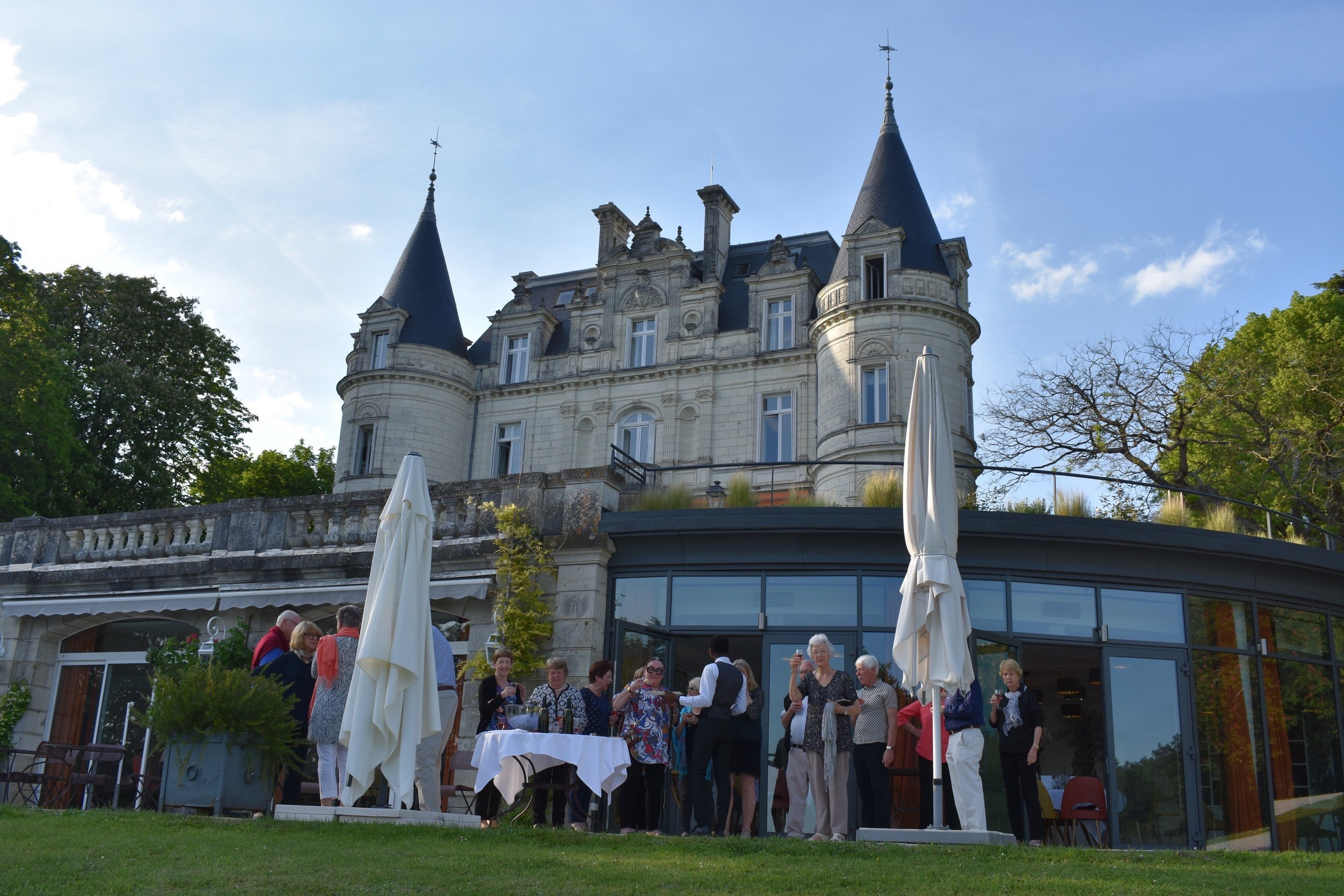 Cocktail Hour at our castle in the Loire Valley