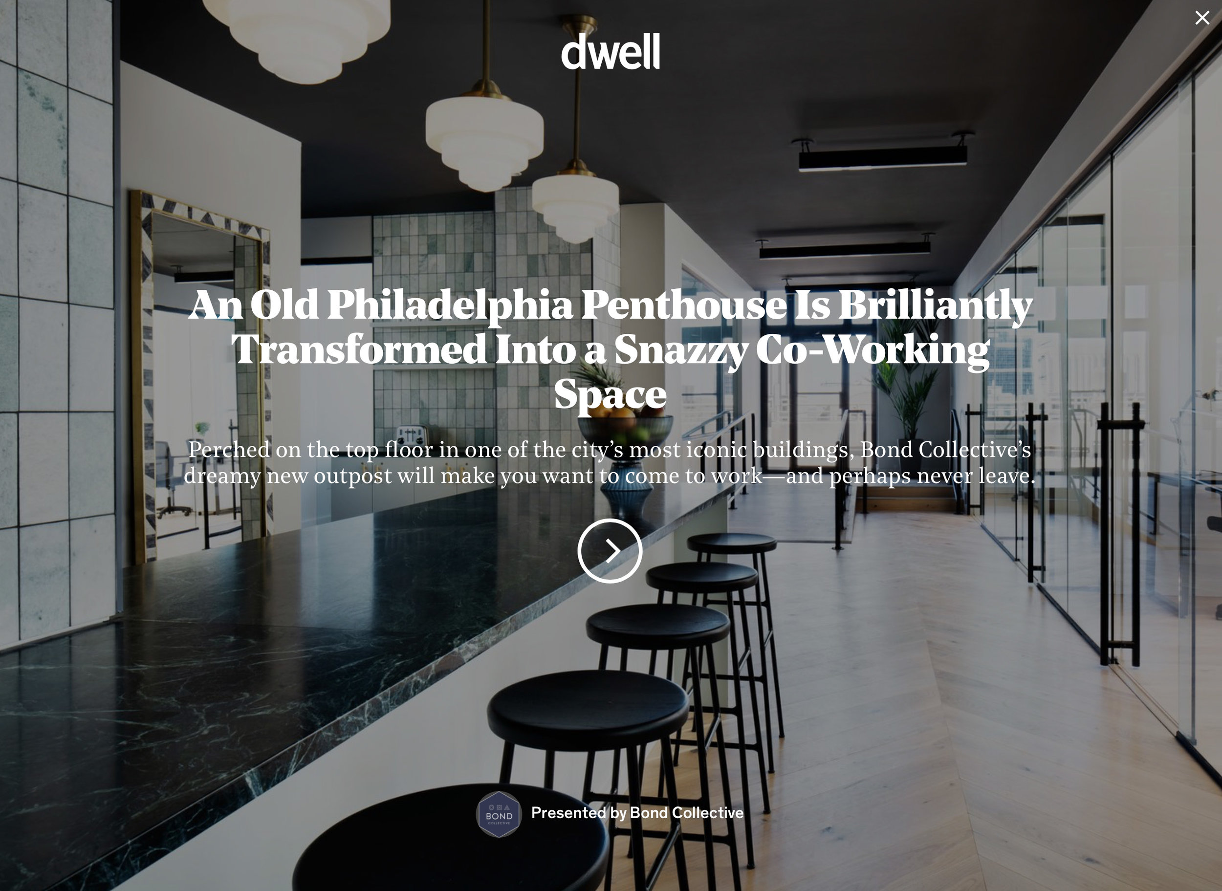 Dwell.com   An Old Philadelphia Penthouse Is Brilliantly Transformed Into a Snazzy Co-Working Space   Bond Collective