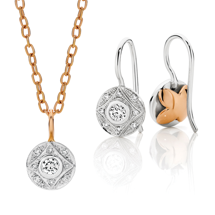 Tzarina Diamond Pendant & Earrings