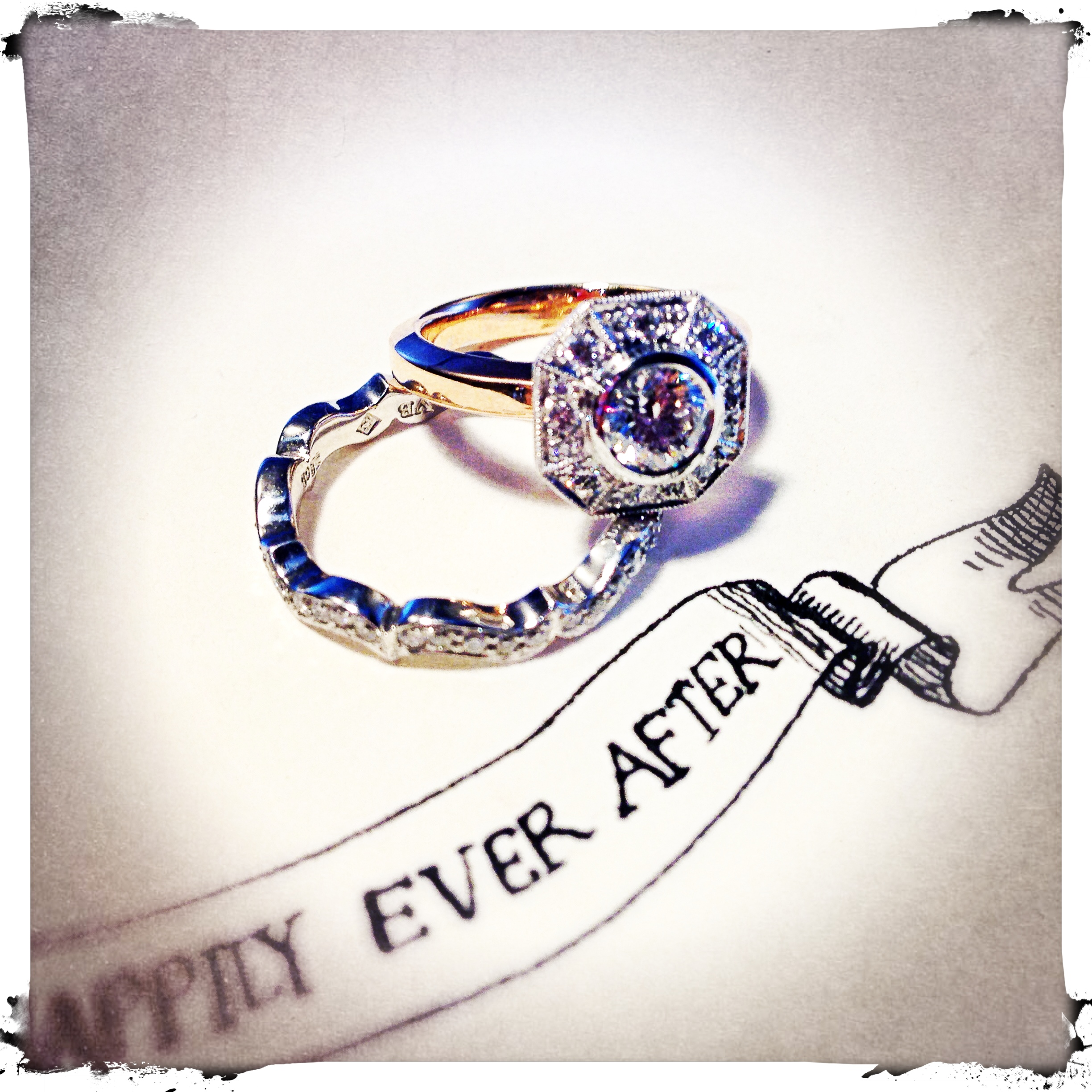Tatiana engagement ring and Happily Ever After diamond band