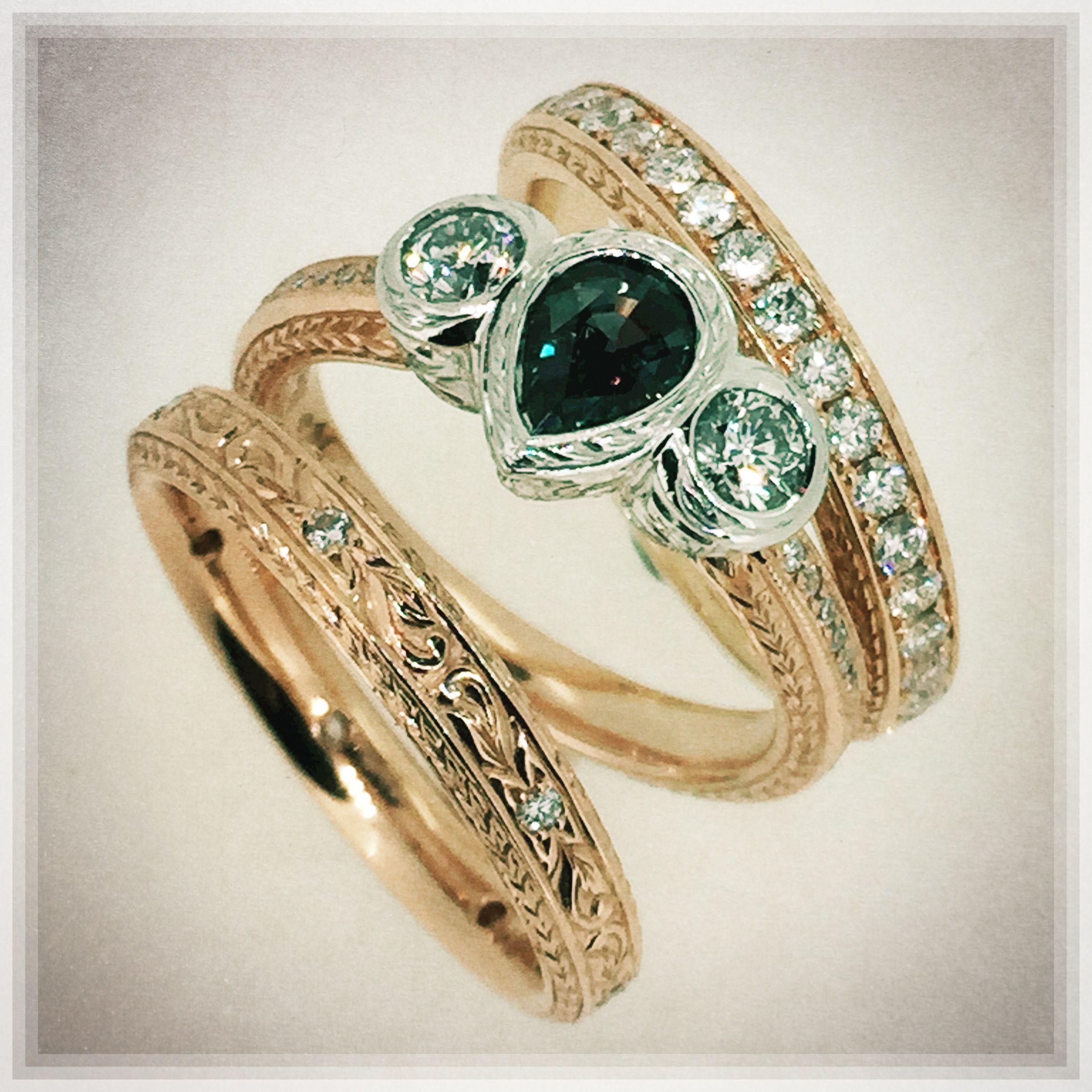 Alexandrite and Diamond Engagement Ring with Isabella Engraved Wedding Bands