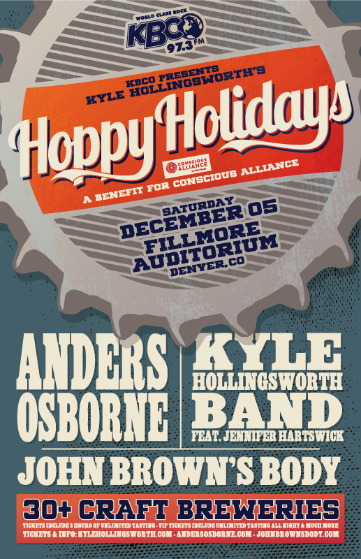 JUST ANNOUNCED:    Anders Osborne  at   The Fillmore Auditorium  in Denver, Colorado on Saturday December 5th for   Kyle Hollingsworth  's Hoppy Holidays! Pre sale tickets go up this Thursday October 8th at 10AM MST and tickets are on sale to the public this Friday October 9th at 10AM MST. Tickets and more info  HERE