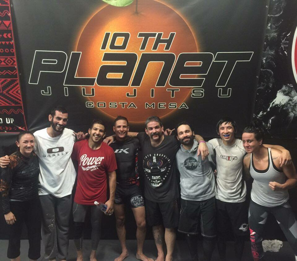 Tough practice at 10th Planet Costa Mesa. L (Carla Esparza, Arian Sharifi, Matthew Lopez, Anthony Birchak, Casey Halstead, Andy Balmore, Kerry Phan and Ashlee Evans-Smith