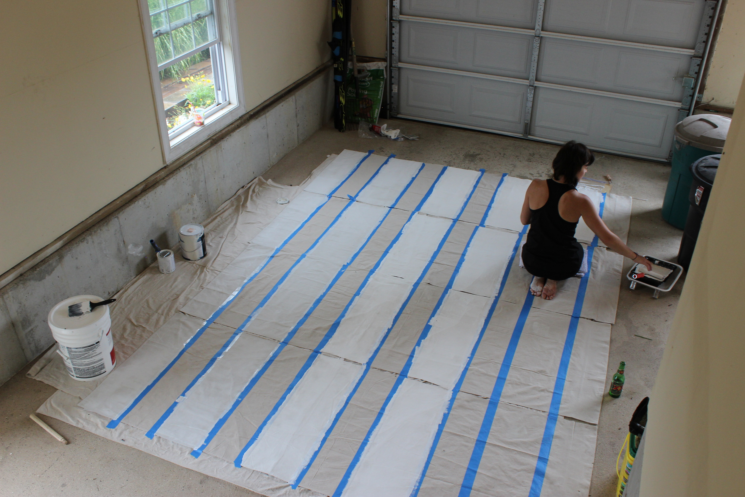 Painting DIY Striped Curtains