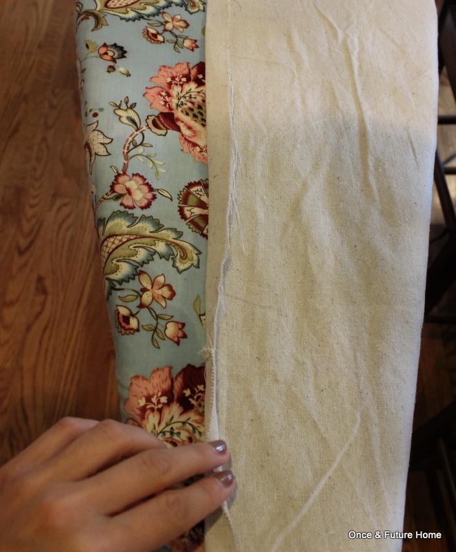 Hem a drop cloth using no-sew hem tape.