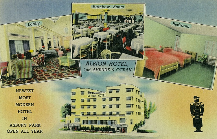 A visit to the seashore will prove most enjoyable when you stop at Asbury Park's newest hotel - Entirely fireproof, finished in 1942 with all modernistic furnishings. The Rainbow Room with dancing every night proves to be the Jersey Shore's most popular rendezvous.