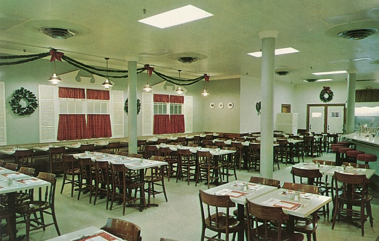 "Back caption:  Steinbach's Main Floor Restaurant is one of the most popular Dining Rooms in Asbury Park. Luncheon is served daily and dinner till 7 P.M. on Wednesday and Friday. Children's menus are available.  ""COOKING THE MODERN WAY - ELECTRICALLY"""