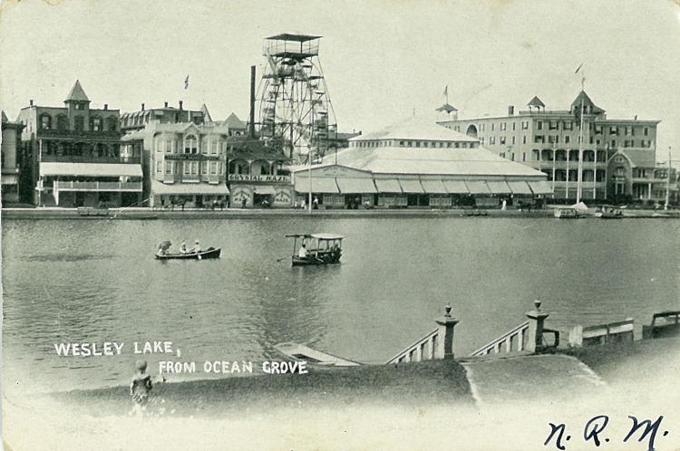 Palace Amusements across Wesley Lake showing the Crystal Maze