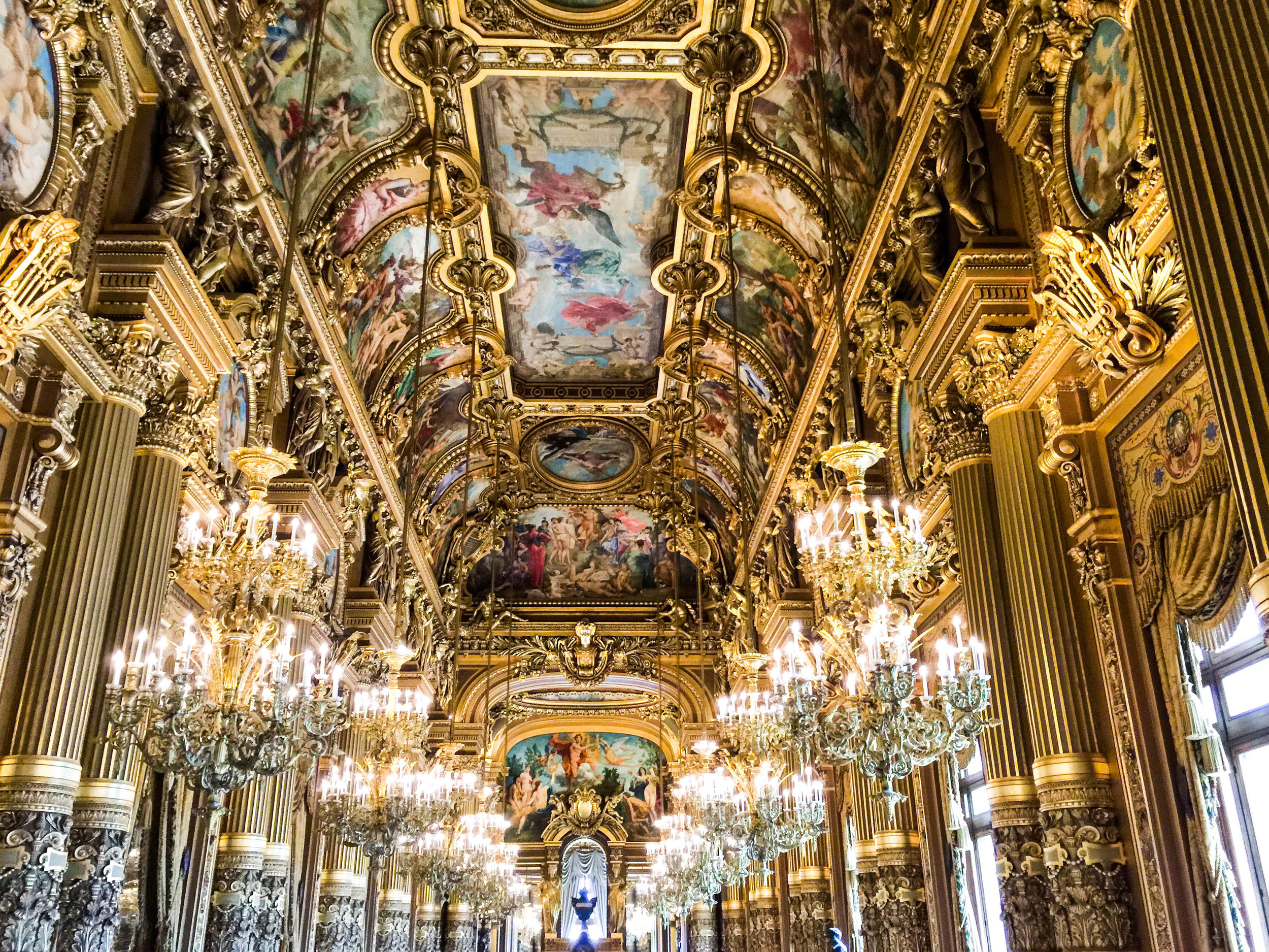 The ceiling of one of the halls in the Paris Opera House.