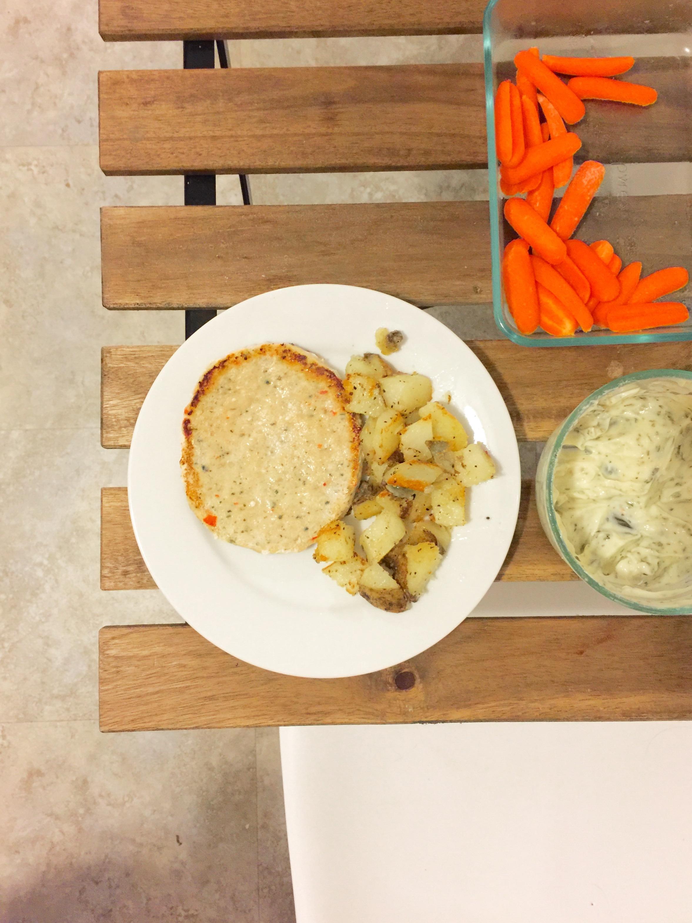Trader Joe's Chili Lime Chicken Patty, garlic potatoes, and carrots + ranch