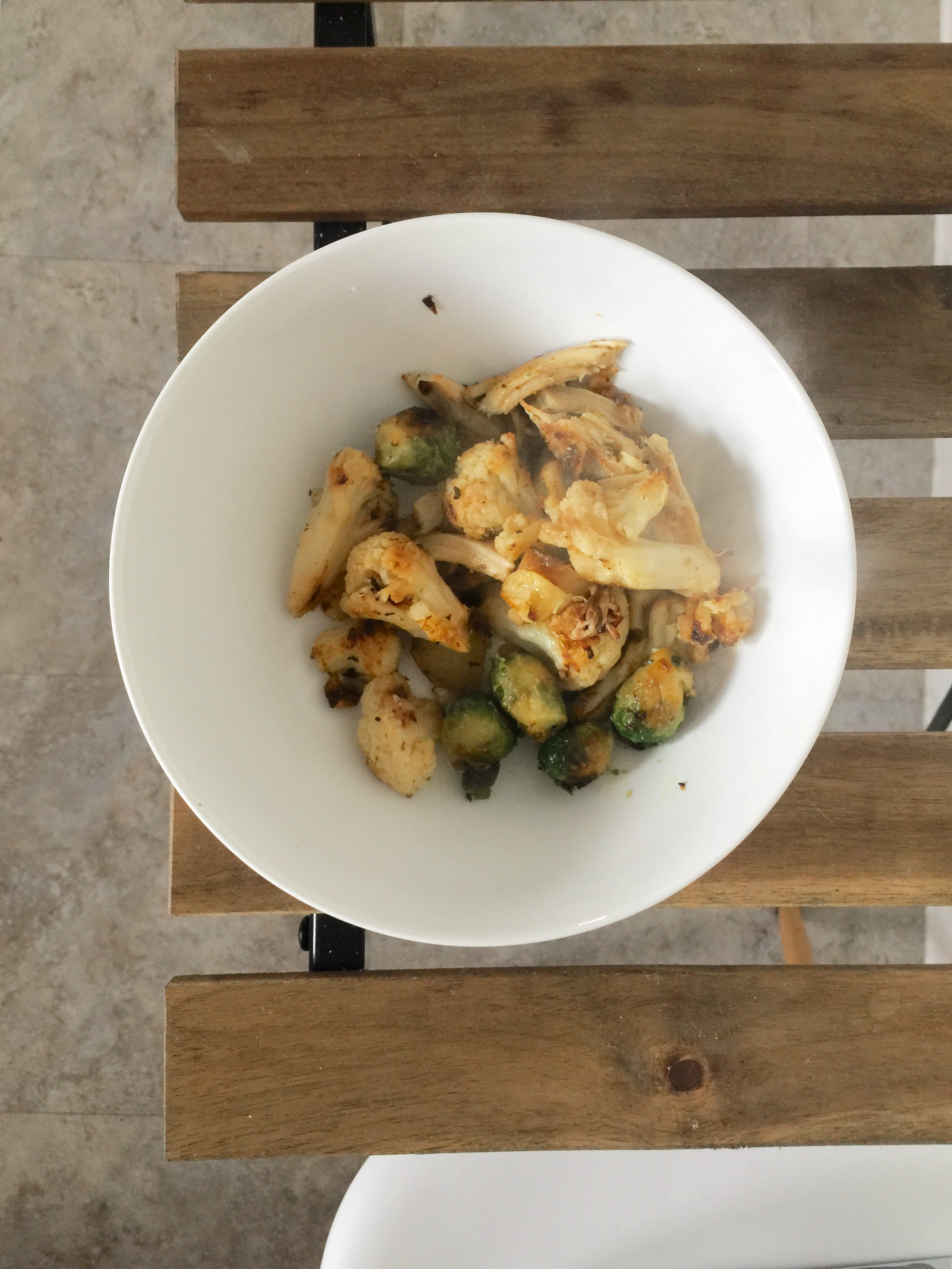 Chicken, Roasted Brussels sprout, and Roasted Cauliflower