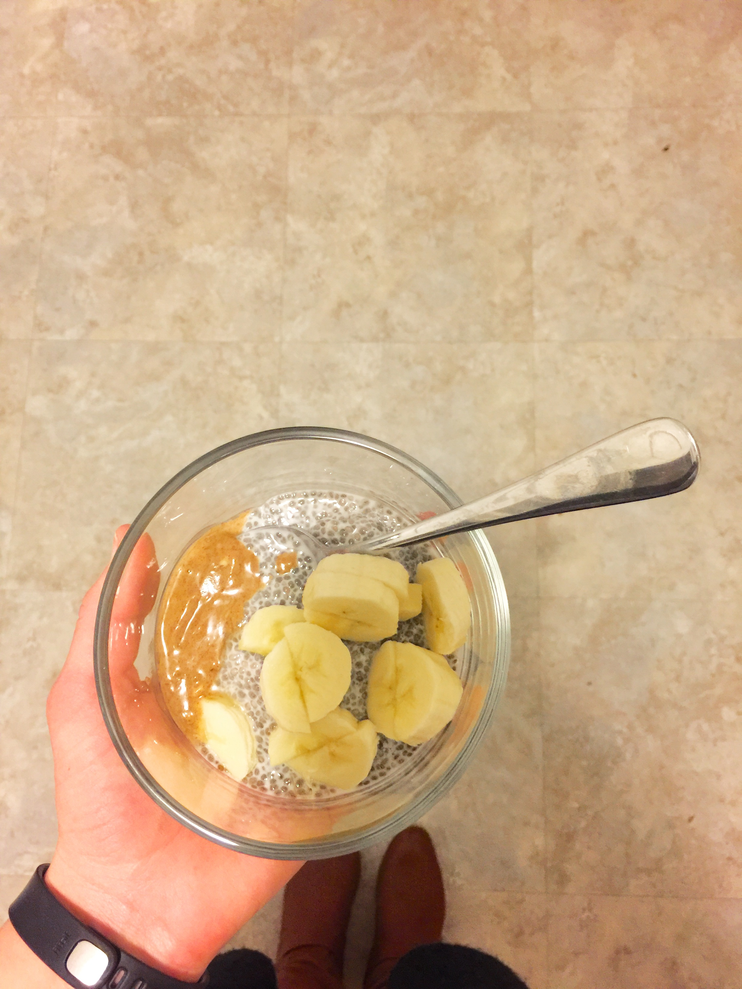 Chia pudding with almond butter and banana