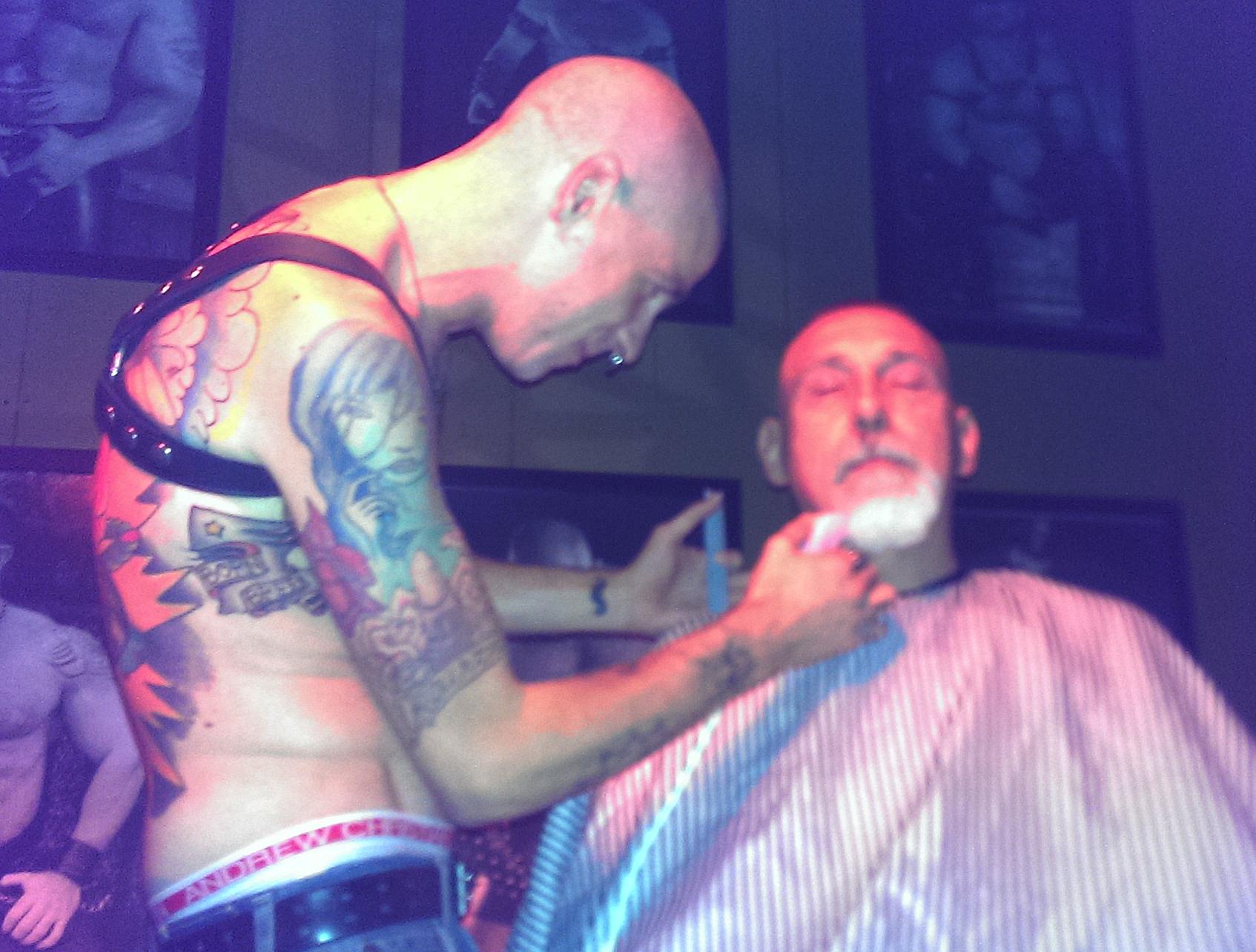 Justin shaves Bryan