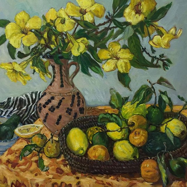 Moroccan Vase and Lemons 2019 Oil on Linen 50cms H x 61cms W Available now. Please contact me for details either by Direct Message on Instagram or go to my website: www.elizabethgairpalmer.