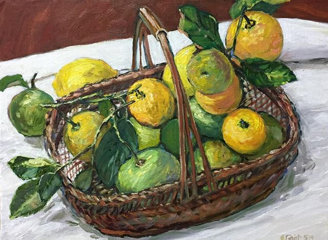 Oranges and Lemons (say the bells of Saint Clement's). Oil on Linen 30cms H x 40 cms W. A commission and ready to go to it's new home. It is such a pleasure and an opportunity to be given a commission so thankyou to my patrons and to all those patrons of all types of artists wherever and whomsoever they may be. #art#artcommission#patron#brisbaneartist#brisbaneart#oranges#lemons#citrus#frommygarden