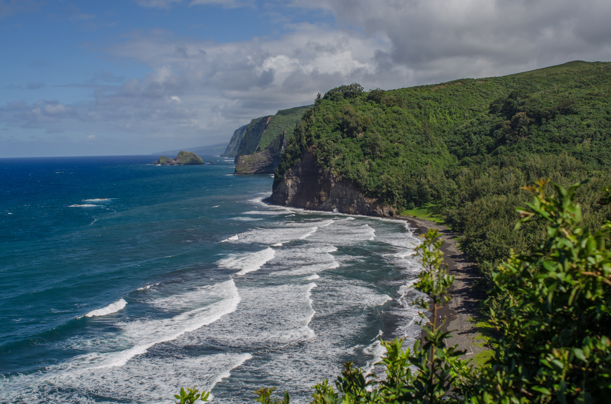 (View from above Pololu Valley. All the following photos are from a recent weekend there. Not sure it was real life.)