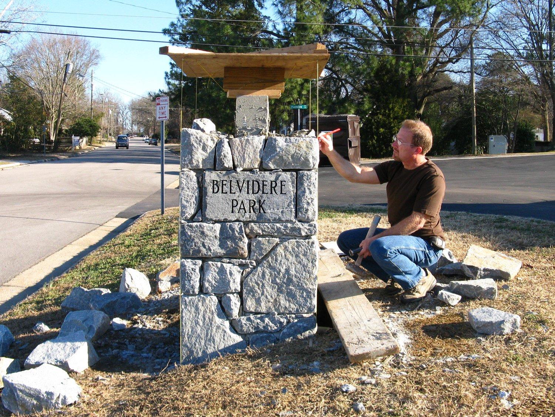 Joe Valles at work on stone entrance