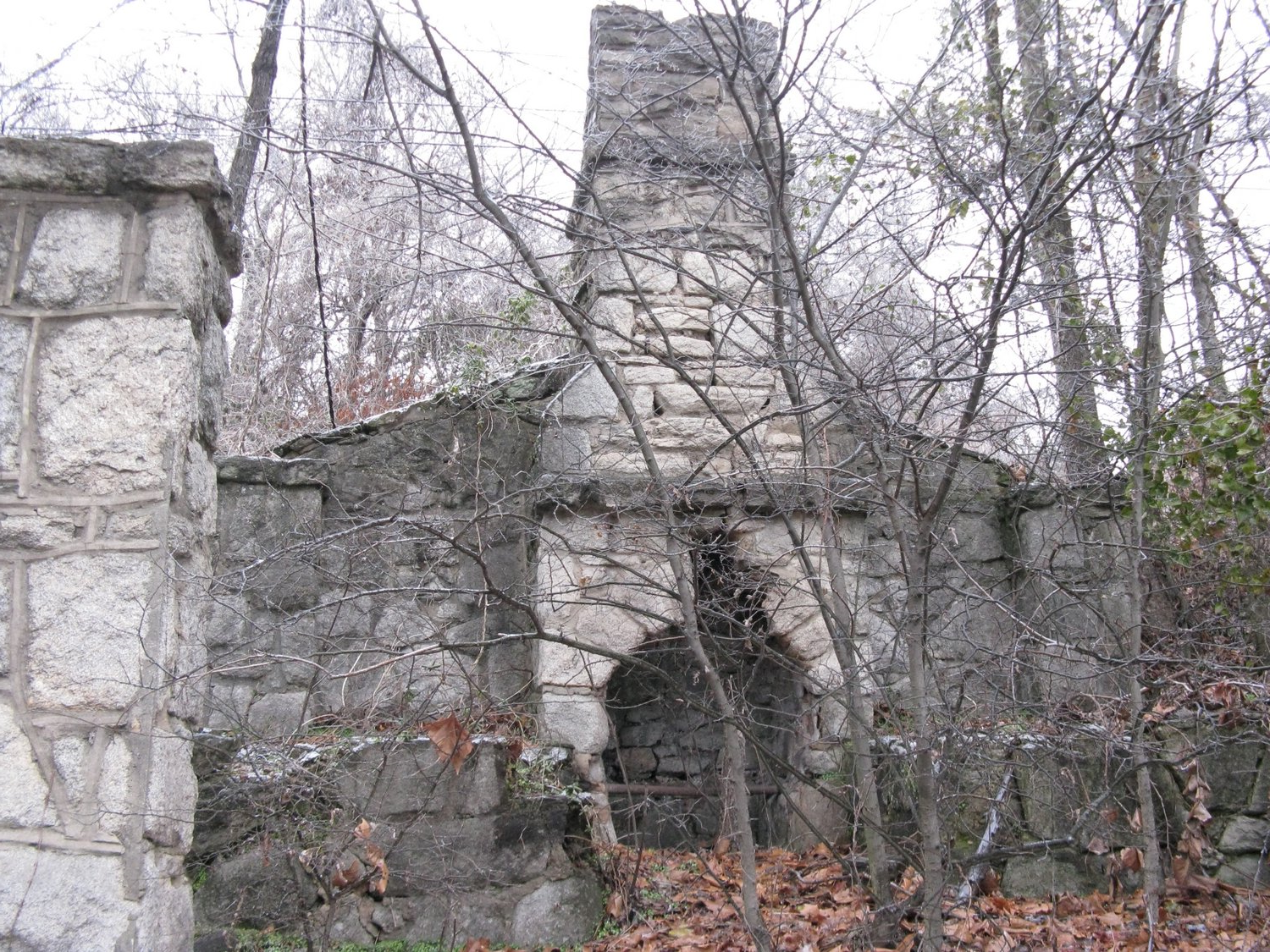 Old stone fireplace along Hwy. 64 in Knightdale