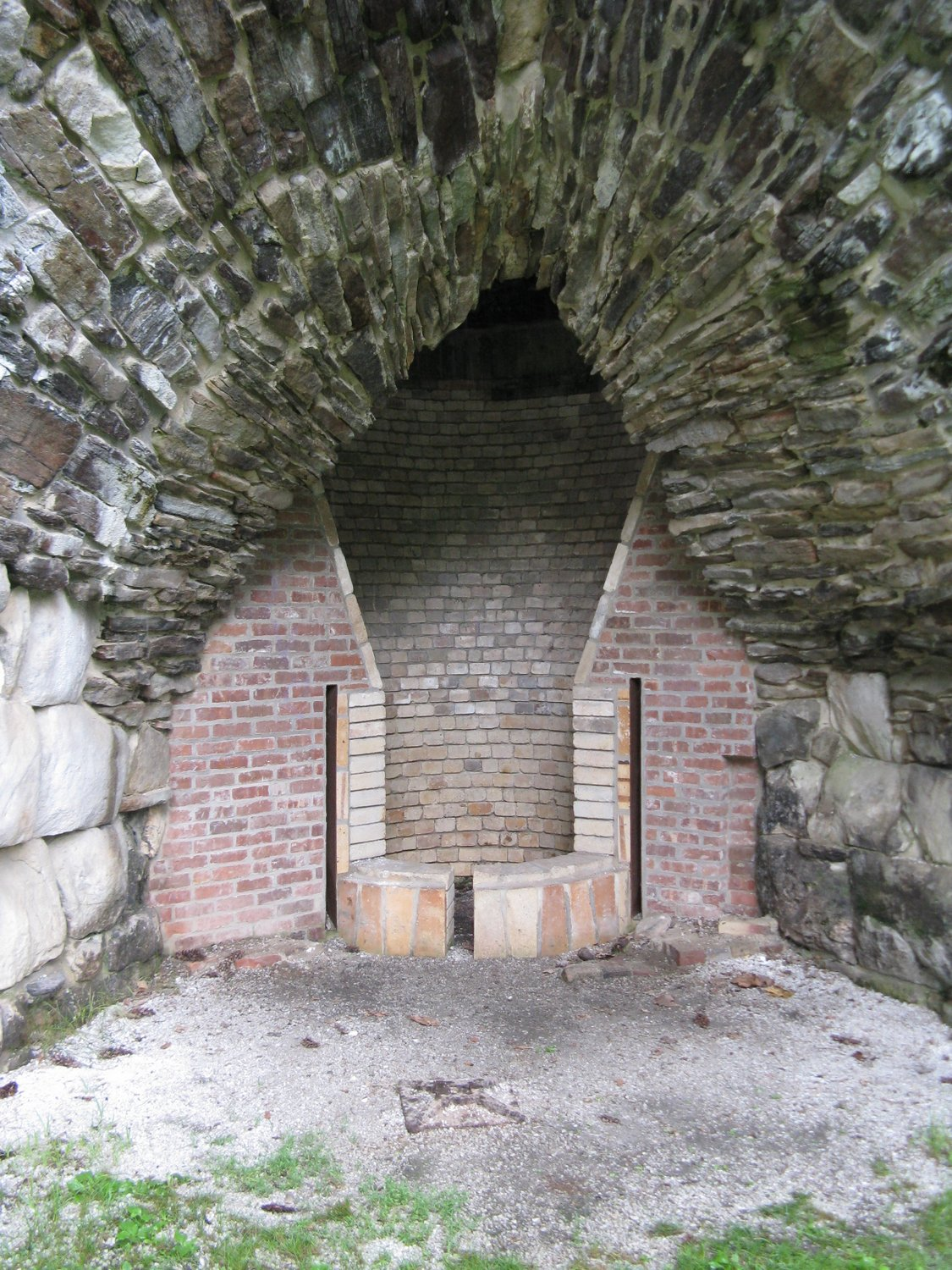 Cutaway view of the hearth