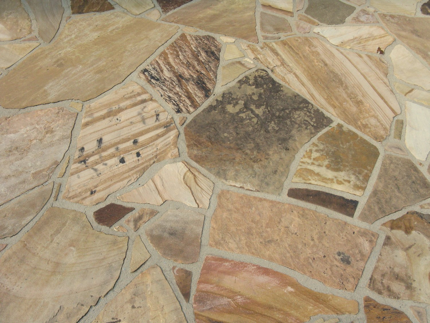 Mortar joints on this patio are small, flat and consistent in size.