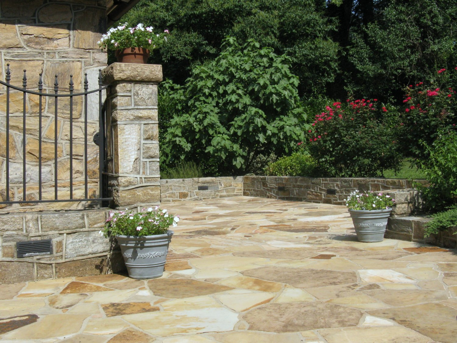 Built in 2001 and photographed in 2010, this stone patio still looks great today.