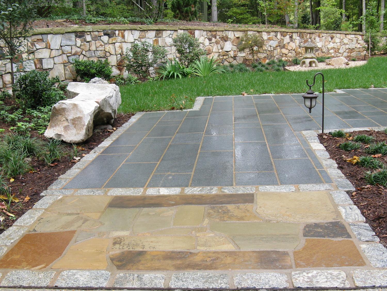 Granite and sandstone with cobblestone edging