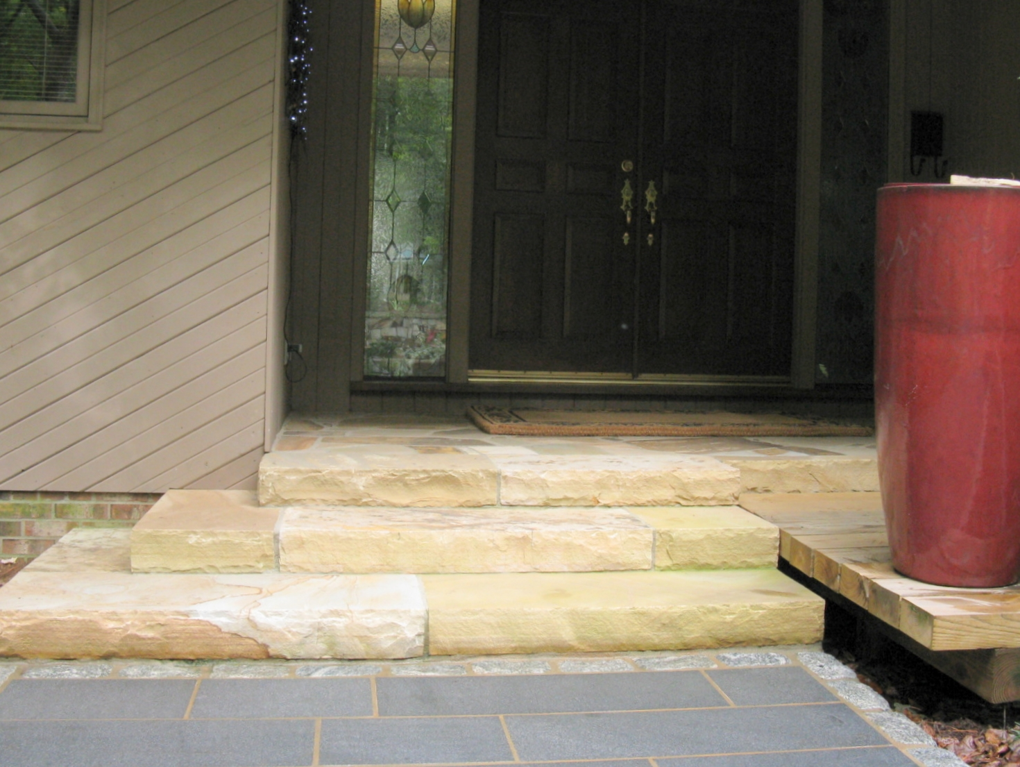 A detailed look at the sandstone steps