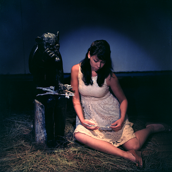 Sharr with 'Little Bear' in 'The Thief of Always' MFA Thesis show at San Jose State University.  Photo © Aimee Santos