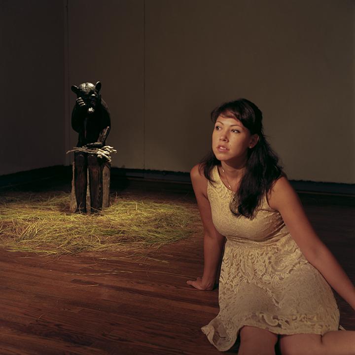 Aluminum sculpture of 'Little Bear' with Melanie Sharr. Photo © Aimee Santos