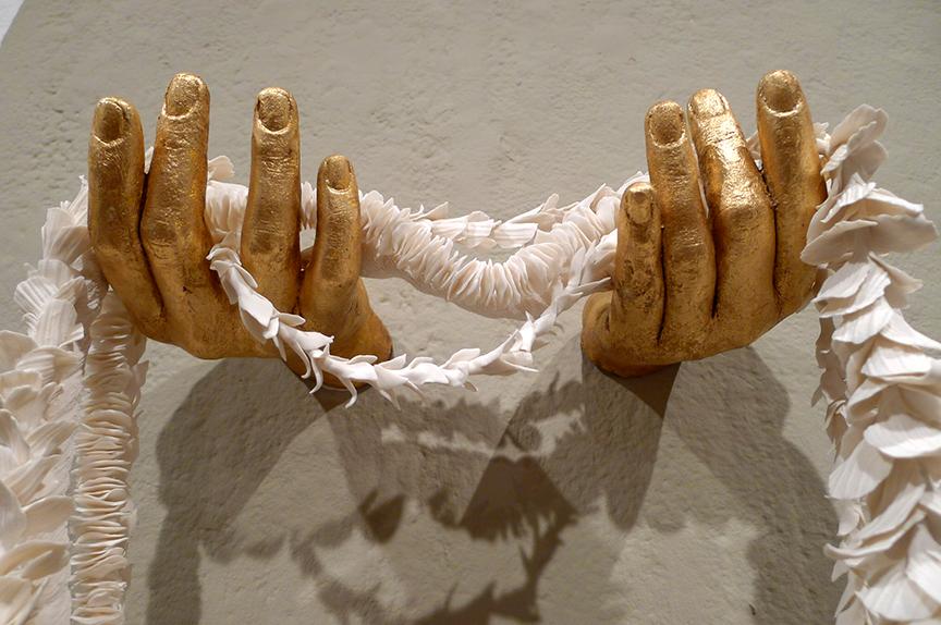 "'Handmade Rhythm' Porcelain, Hydrocal, Gold Leaf, String, 30""x20""x8"". Photo © Aimee Santos"