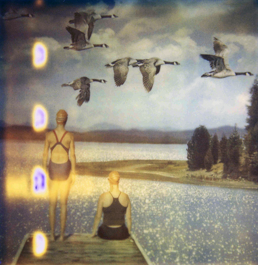 'Swimmers with Geese' from Ephemeral Interventions Polaroid Photograph, 2012.  Photo © Moira McDonald