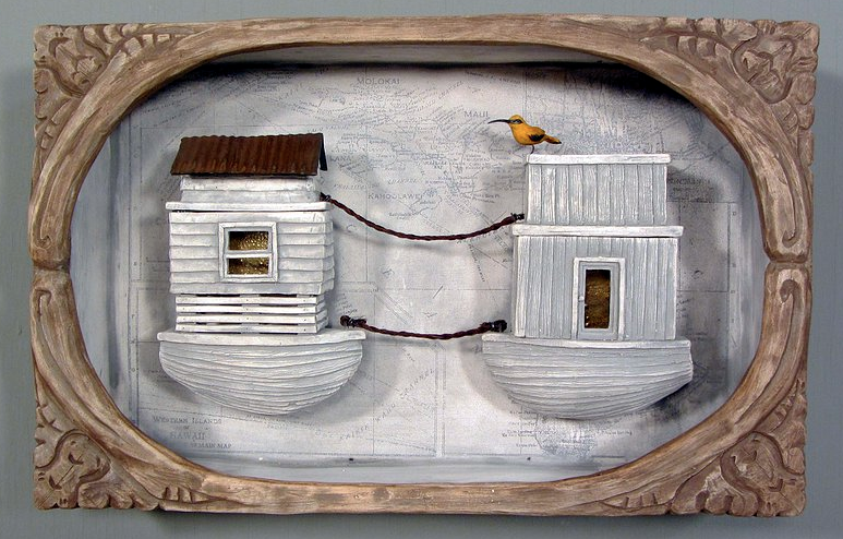"""'Residence' Earthenware, Screen Print, Horse Hair, Glass, Wire, Luster, 16""""x12""""x5""""2012. Photo Courtesy of Malia Landis."""