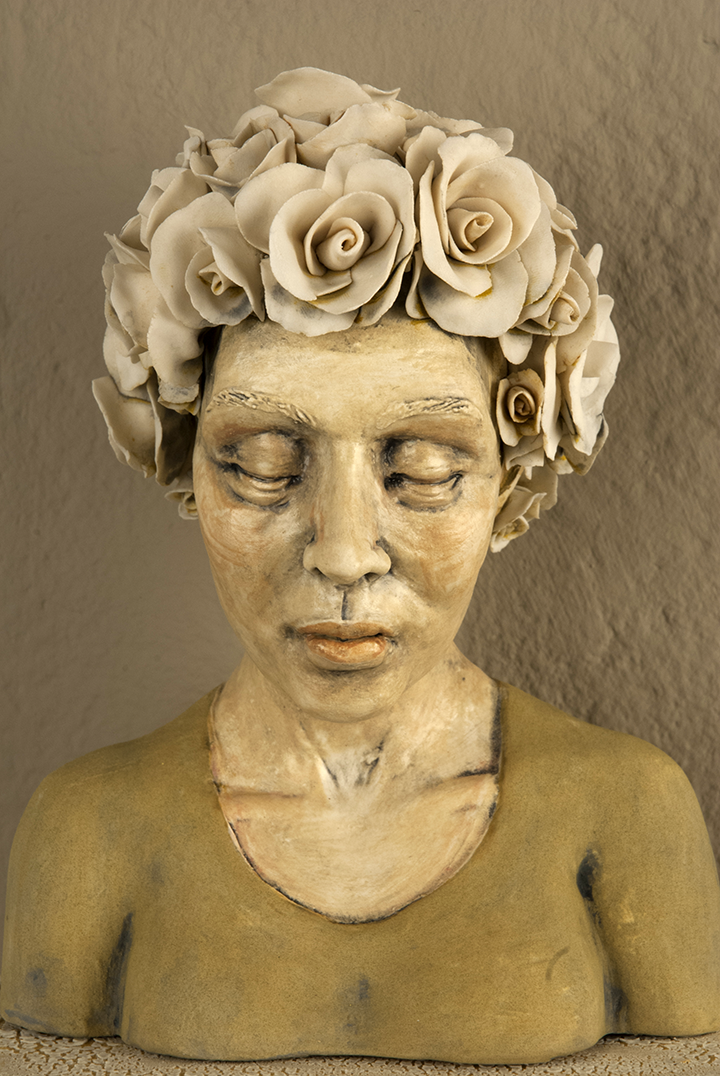 """'Gardenia Bloom' detail, Porcelain, Stoneware, 13""""X8""""x8"""", 2014. Photo © Aimee Santos"""