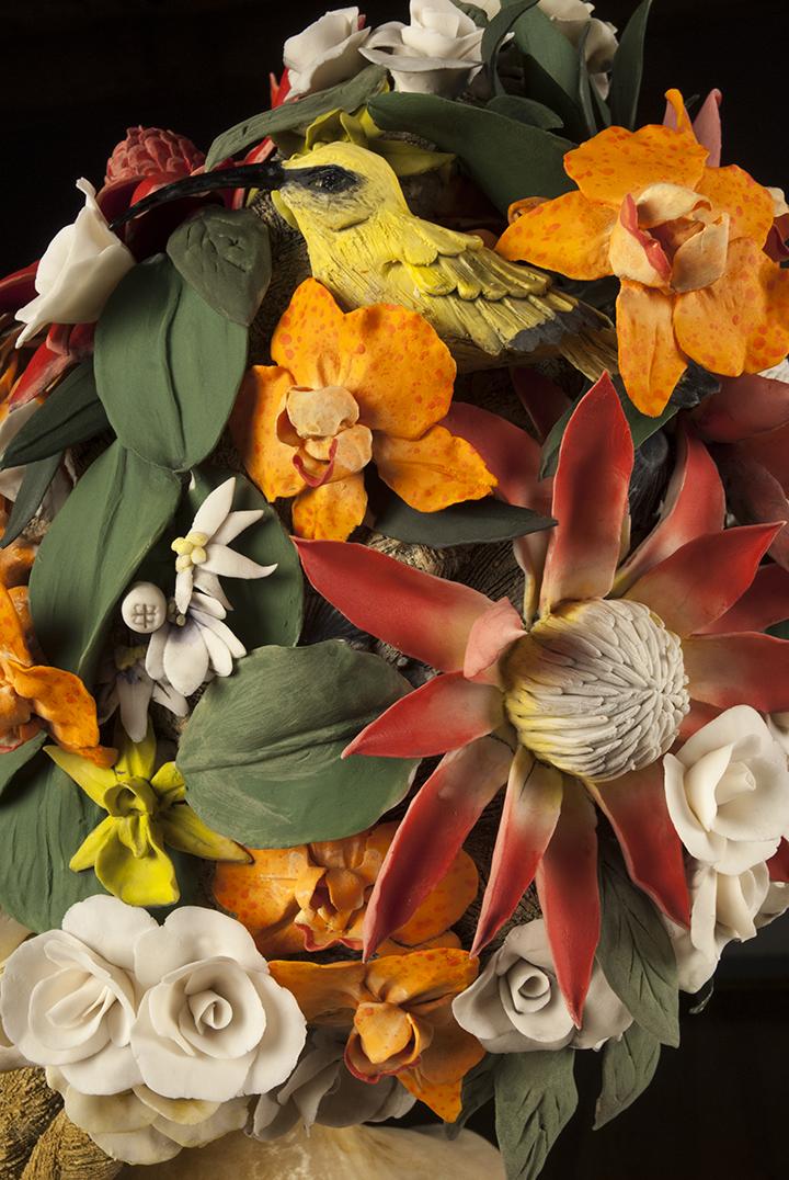 "'Pacific Bloom' detail, Stoneware, Porcelain, Wire, 32""x20""x15"", 2014. Photo © Aimee Santos"