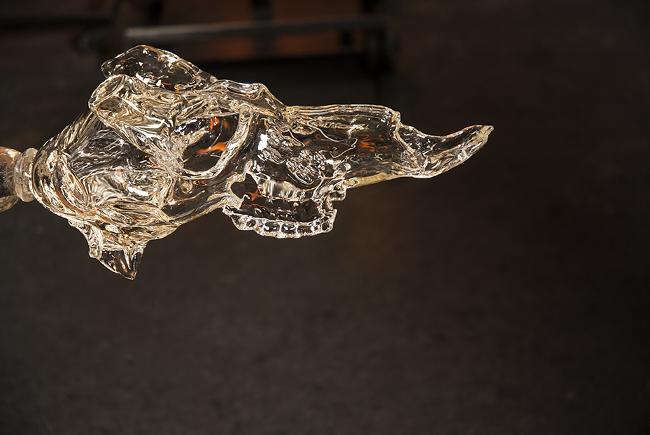 Detail of a deer skull in the middle of creation at Revolution Glass in El Segundo, CA. Photo © Aimee Santos