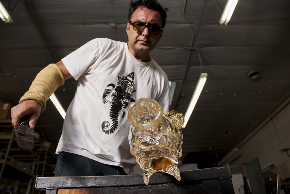 In order to make his sculptures Guerrero needs to rent time at a glass shop.  During a 6 hour rental at Revolution Glass in El Segundo, CA Guerrero was able to create multiple pieces for his upcoming show at the Vincent Price Museum.  Photo © Aimee Santos