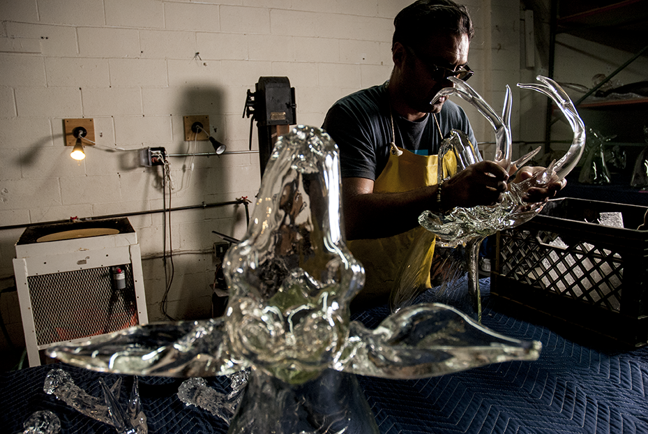 Moving blankets are laid out all over Guerrero's studio to not only protect the sculptures but to allow for a safe working space because the glass is not only incredible strong but also delicate. Photo © Aimee Santos