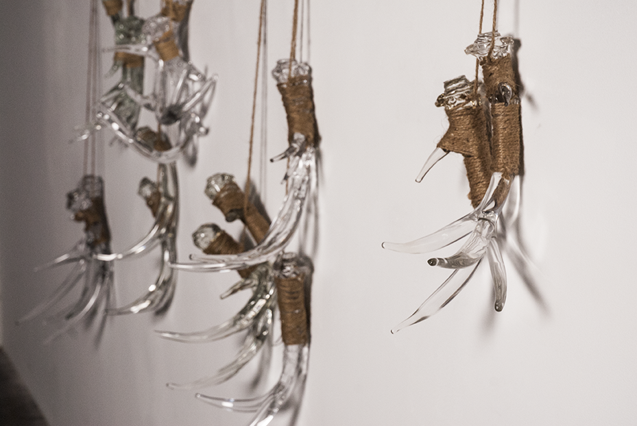 A test wall of antlers hang in The Spot Studios in Boyle Heights run by Jaime Guerrero. The final pieces will be presenting at the Vincent Price Museum this February. Photo © Aimee Santos