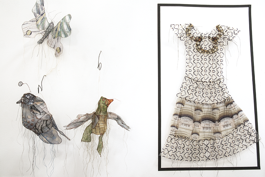 Hanging on the walls in her Santa Monica studio are evolutions of her art practice from animals to dresses. Photo © Aimee Santos