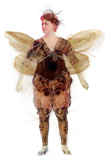 ' Family Secrets'  Scanned images of antique paper doll and crochet remnants, printed on transparency, hand-stitched. Photo courtesy of Gwen Samuels