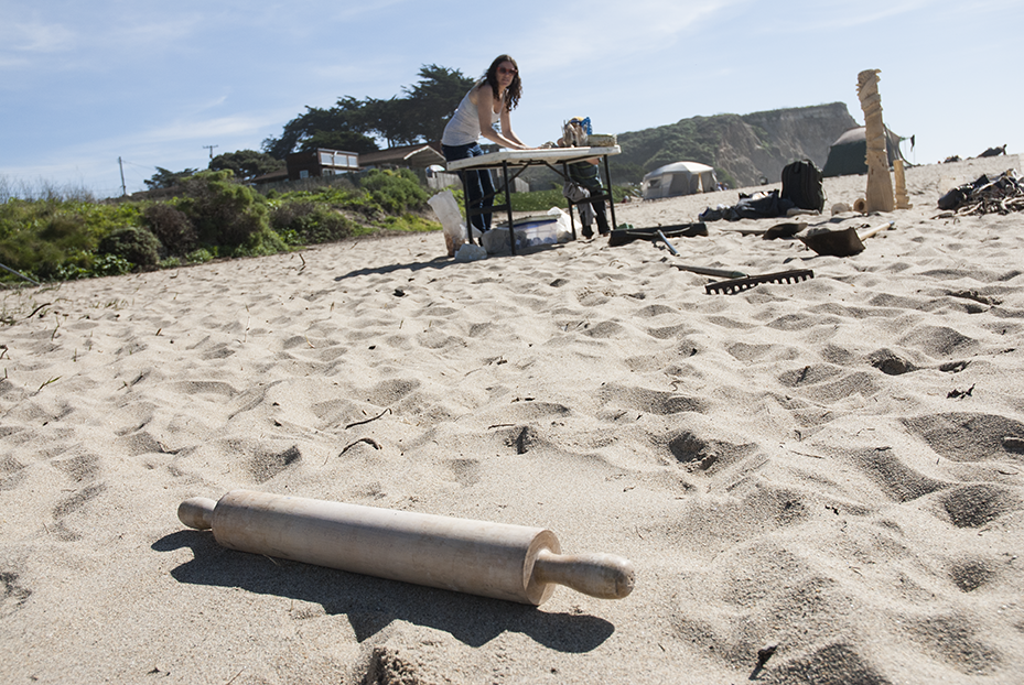 As a ceramic artist tools can be from everywhere from traditional to conventional.  In this case a rolling pin used to flatten out clay ended up on the beach while Wride creates fresh sculptures to add to her installations at Davenport Landing in Davenport, CA.  Photo © Aimee Santos