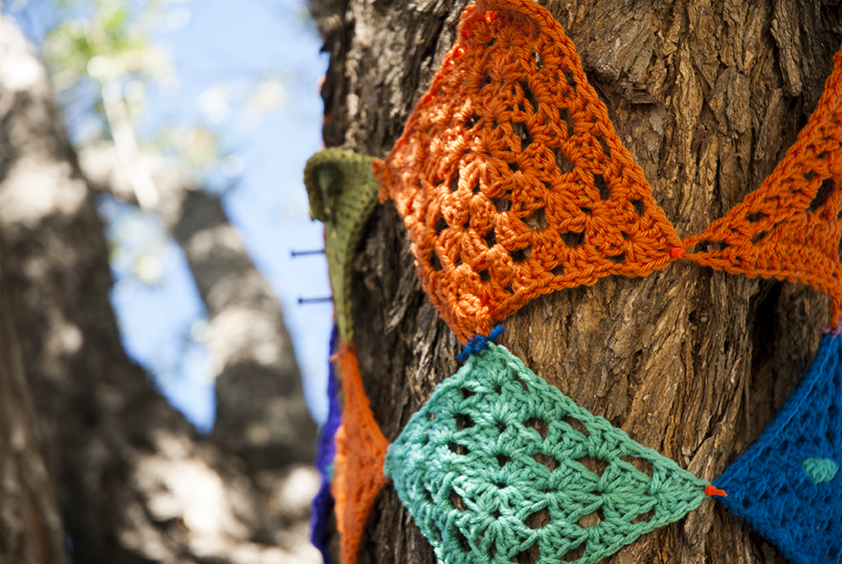A section of Kornblum's tree that is slowly being covered with knitting creations in her front yard of Woodland Hills, CA. Photo © Aimee Santos
