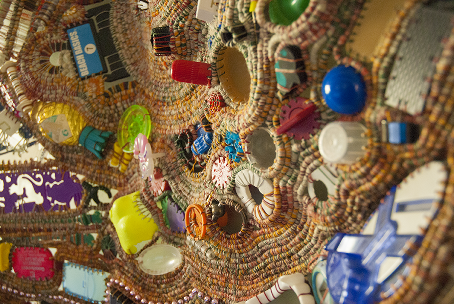 A detail of a piece hanging in Kornblum's dining room shows there is not object too strange or nonconforming that she won't use in her sculptures.  Photo © Aimee Santos