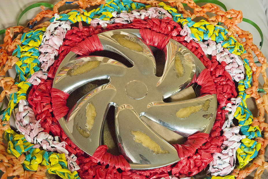 Hubcaps, some of which her son finds,are not immune to the creative creations that Kornblum imagines. Photo © Aimee Santos