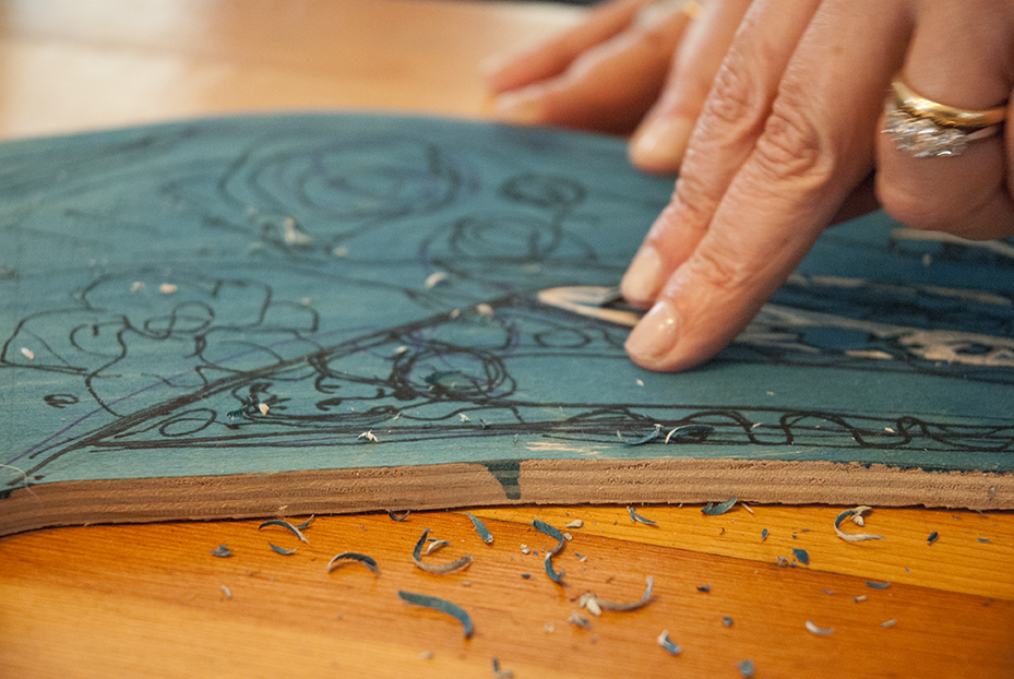 A detail shot of one of Weiss' wood cuts shows the amount of detail she puts into each piece that is part of a larger message.  Photo © Aimee Santos