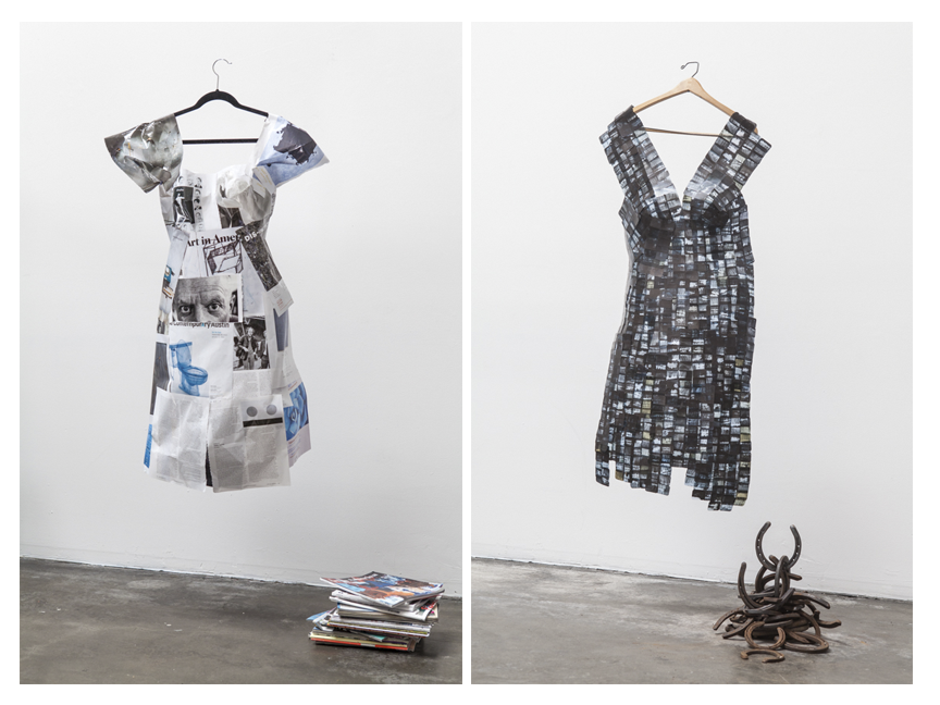 (L-R) The final product of Jane Szabo's work becomes an almost haunting representation of a dress.  Art in America Magazine dress and Dental Films dress.  Both images © Jane Szabo Photography