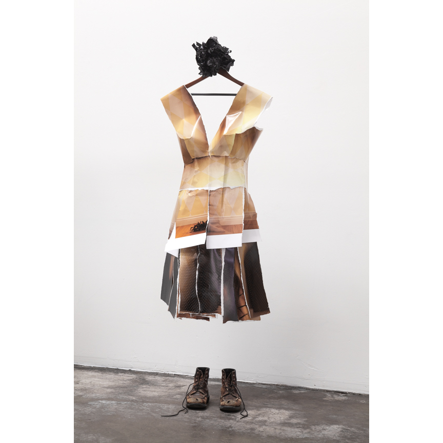 'Rejected Prints' dress of 'Reconstructing Self' project by Jane Szabo.  Photo © Jane Szabo Photography