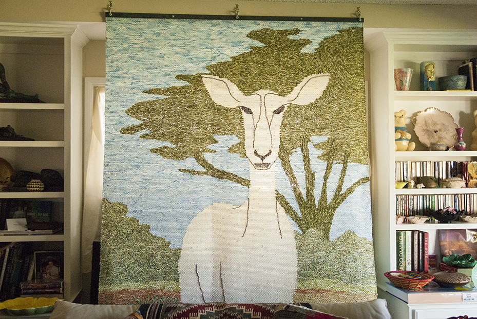 One of Kornblum's largest pieces  'Don't Disappear My Habitat' hangs in her living room.  Photo © Aimee Santos